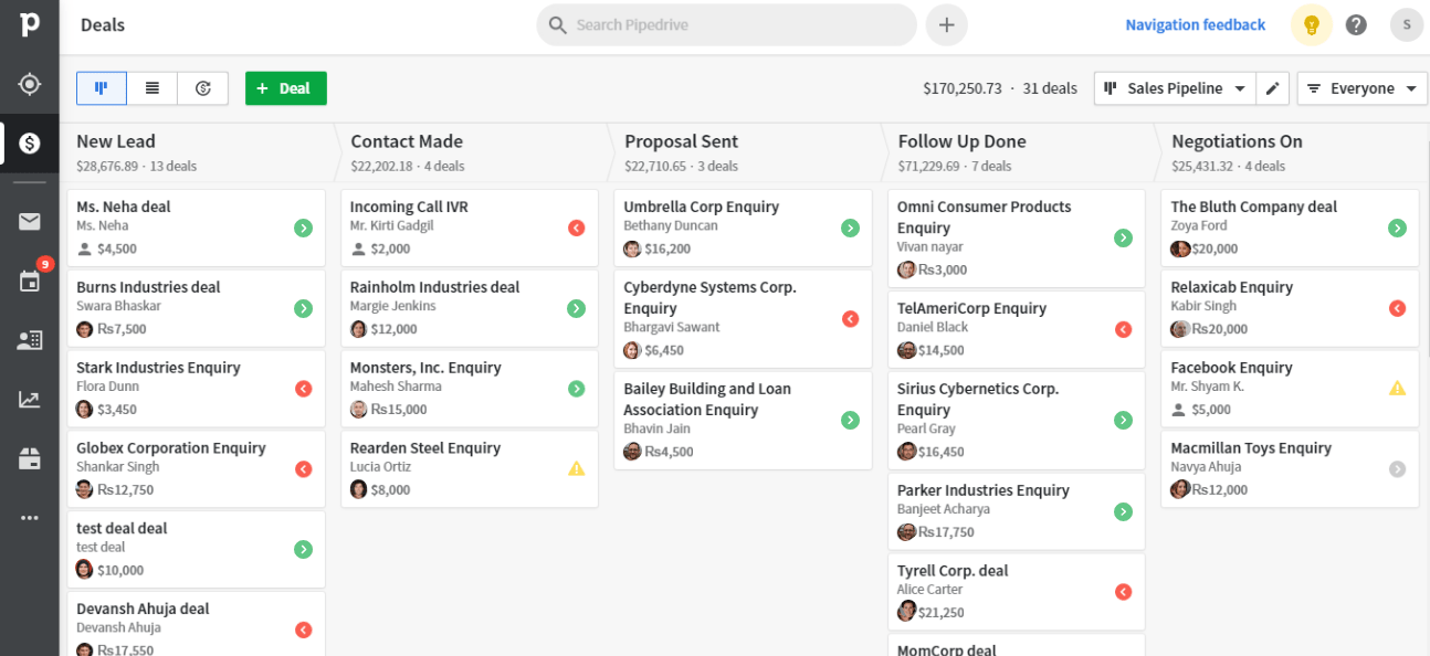 Altois Manage Leads in an easy Pipeline View